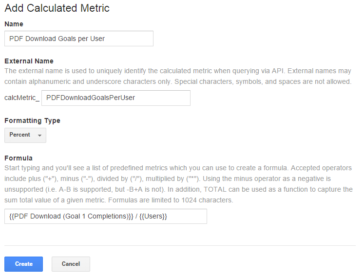 user based calculated metric