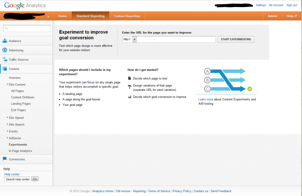 Google Analytics Content Experiments Screen 1