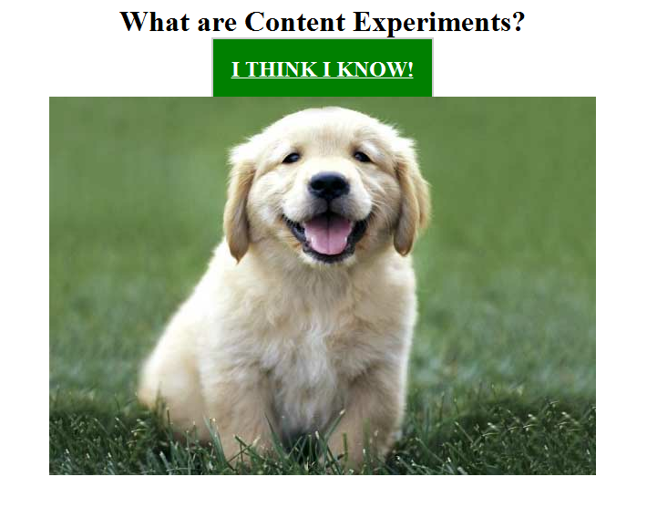 Google Analytics Content Experiments Screen 2