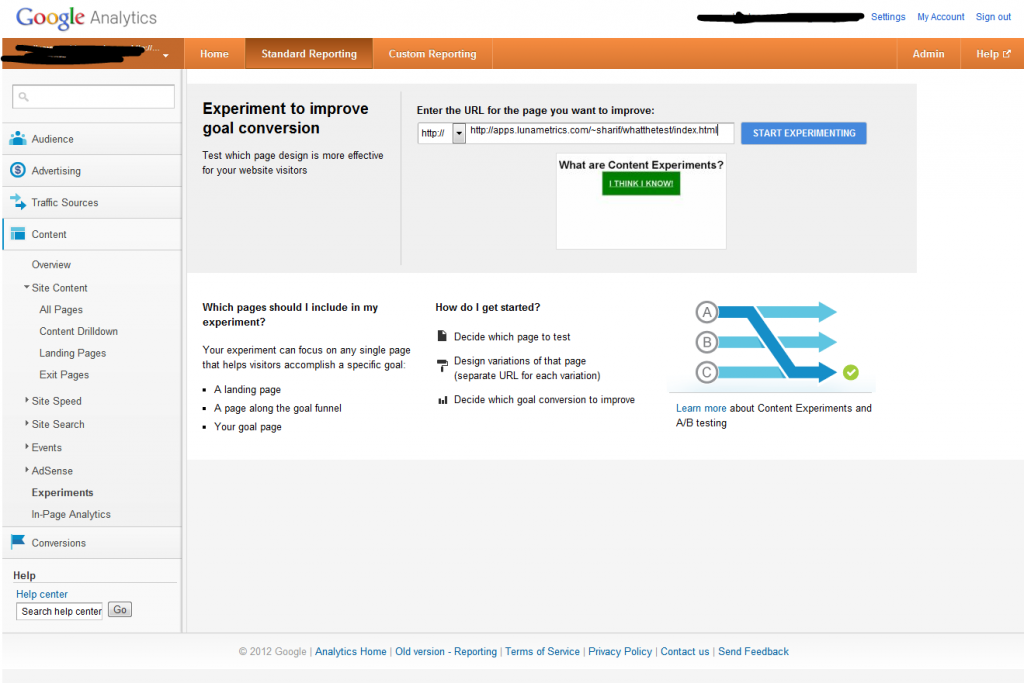 Google Analytics Content Experiments Screen 3