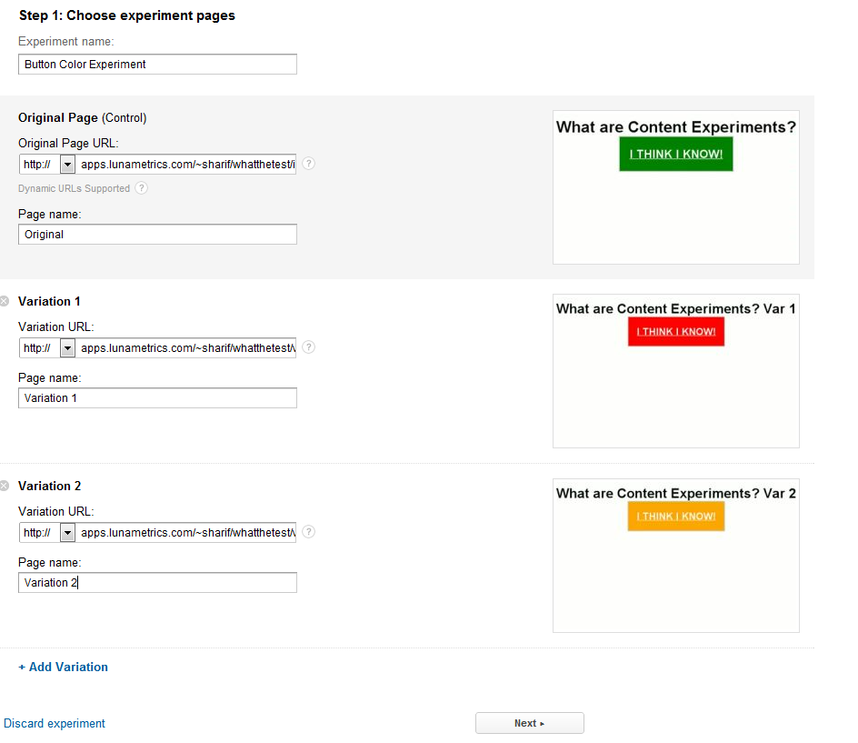 Google Analytics Content Experiments Screen 5