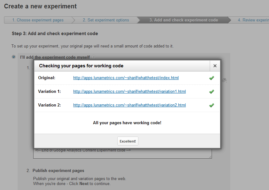Google Analytics Content Experiments Screen 12