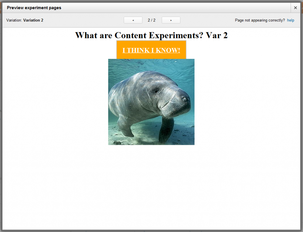 Google Analytics Content Experiments Screen 15