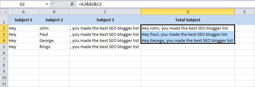 Combining columns in Excel