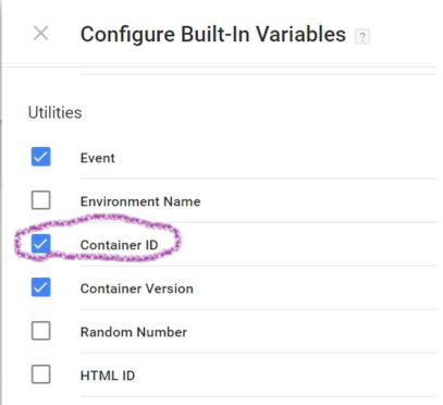 Enable built-in Container ID variable