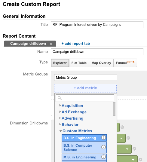 Create custom report with custom metrics in Google Analytics