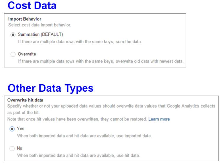 Data Import Overwrite Options