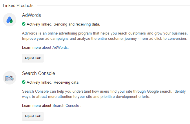 Google Analytics Product Linking