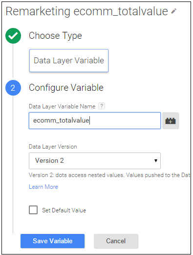 remarketing data layer variable
