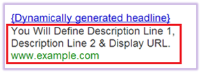 Description Line 1, description line 2 & display URL are user-defined in DSA