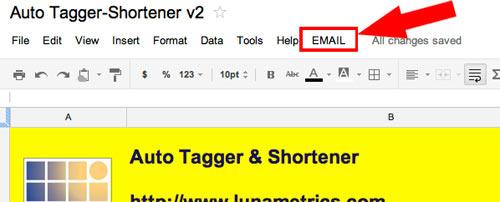 Email menu item in Google Spreadsheet