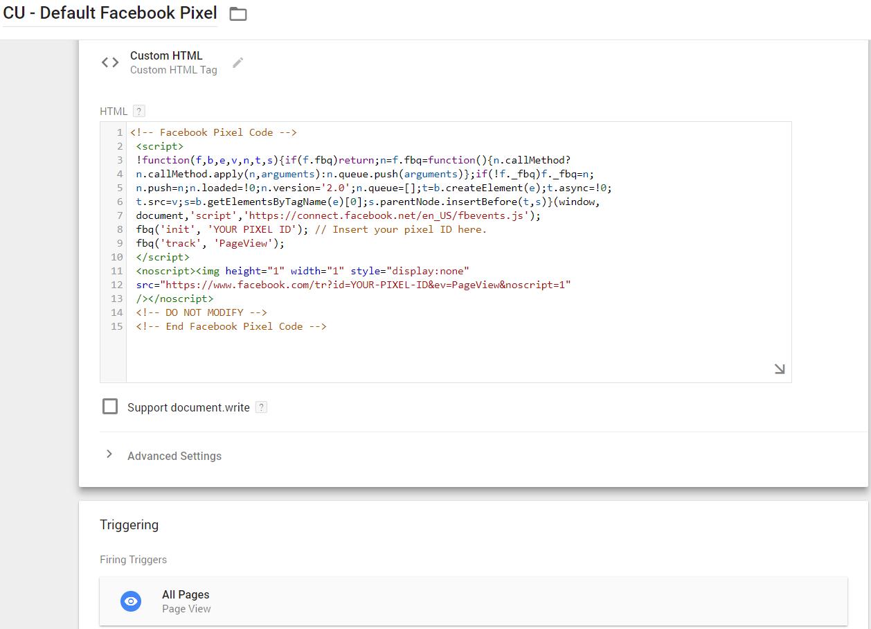 Default Facebook Pixel Tag