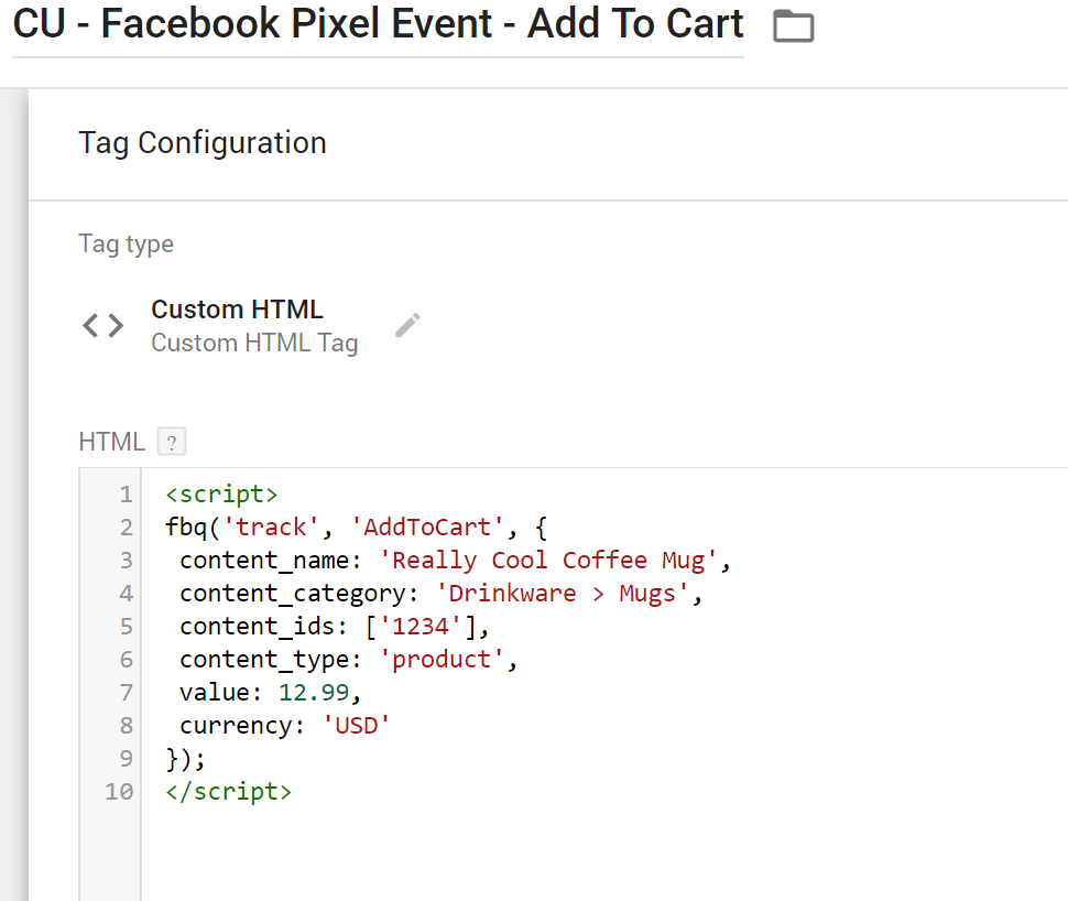facebook event add to cart event HTML tag