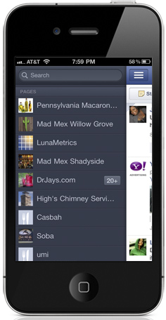 facebook pages management iphone
