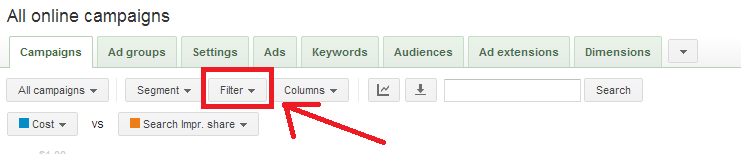 AdWords filter tool