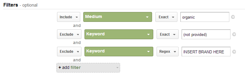 screenshot of custom report filters