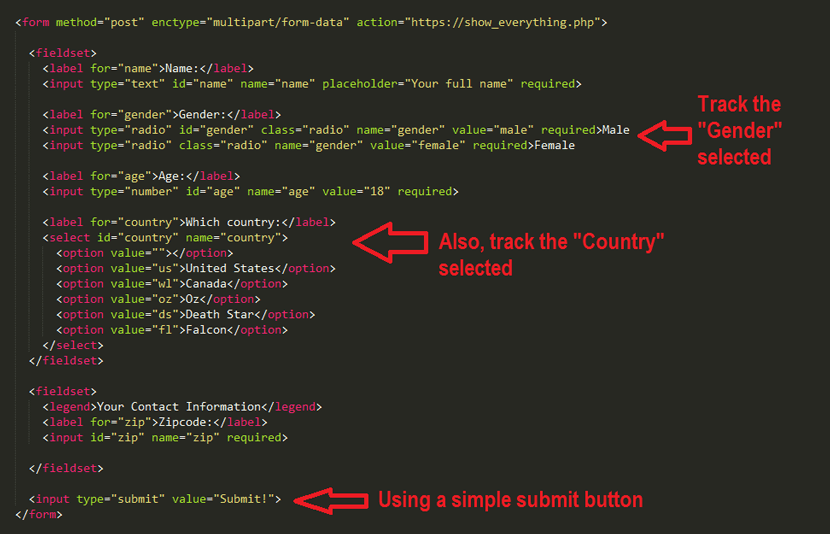 Example Form for Tracking in Google Tag Manager
