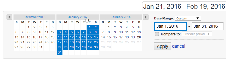 google analytics date picker