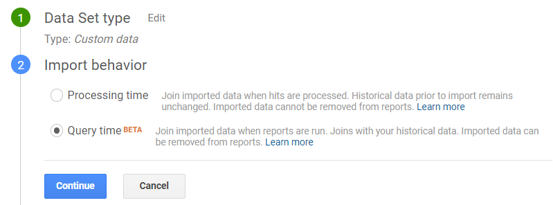 Google Analytics Query Time Import