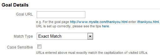 Enter Goal URL and Match Type