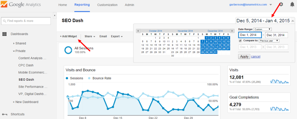 SEM dashboard in Google Analytics