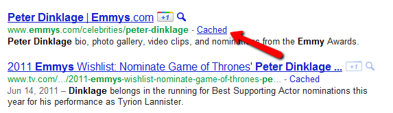 Google Cached Link