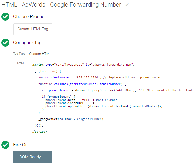 google forwarding number in GTM