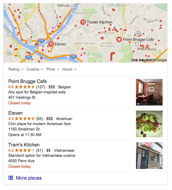 Google local pack in search