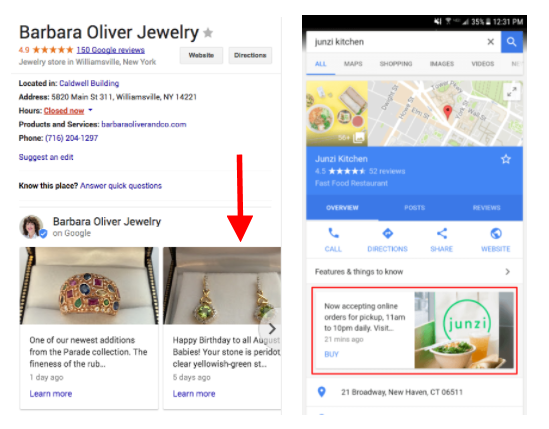Google Post example on Desktop and Mobile