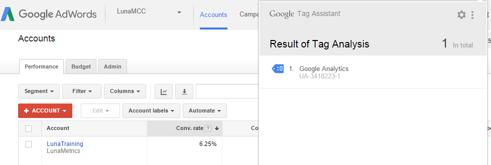 Google Tag Assistant on Google AdWords