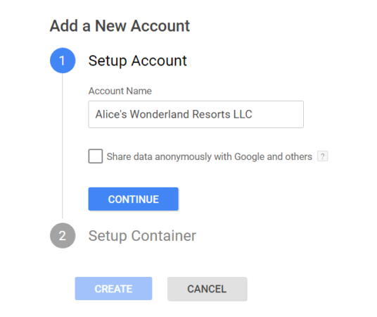 google tag manager account name screenshot