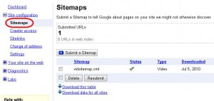 Google Webmaster Tools Sitemap submission