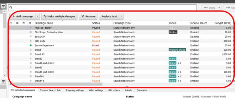 Google AdWords Editor Dashboard