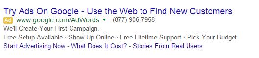 googles google adwords ad 1
