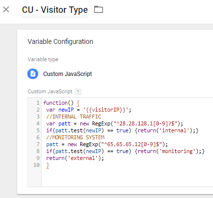 Google Tag Manager Visitor Type