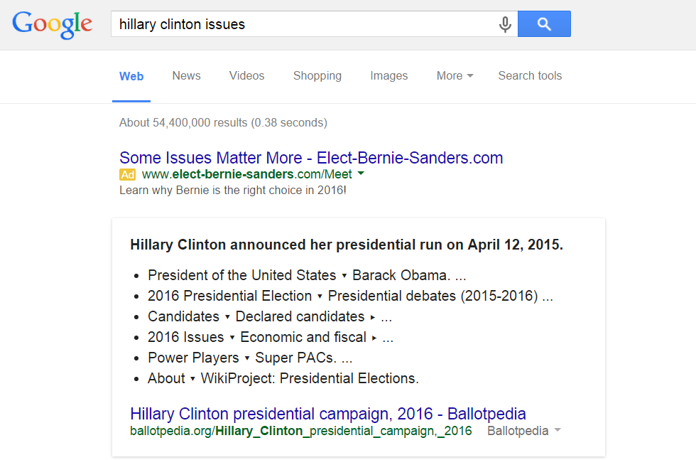 Mockup: Google ad for Bernie Sanders and Hillary Clinton