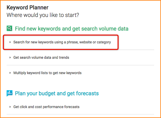 keyword planner intro