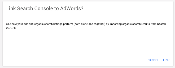 link AdWords to Search Console
