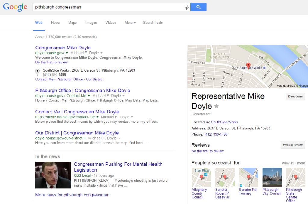 Local SEO for congressman