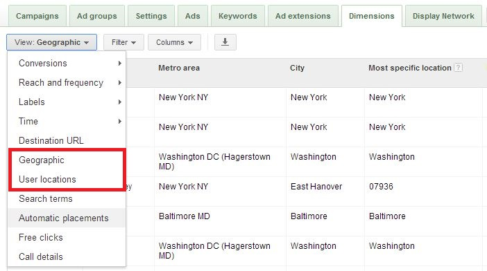 adwords location report