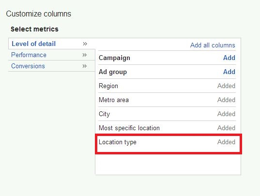 locate location type in adwords