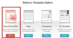 MailChimp drag and drop editor