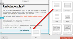 Adding text block to email in MailChimp