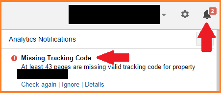 GA notification about missing tracking code