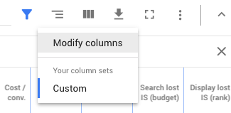 modify columns in AdWords