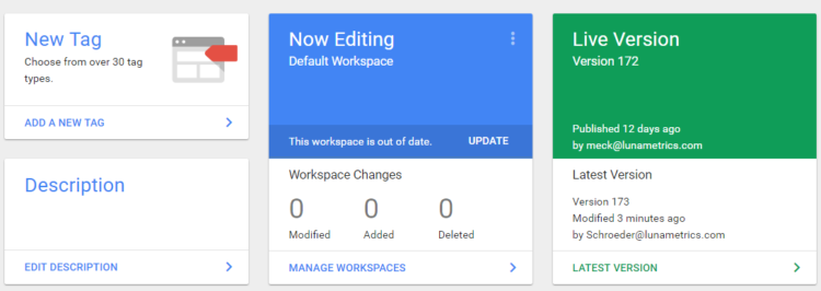 new workspace available - from now editing overview tab