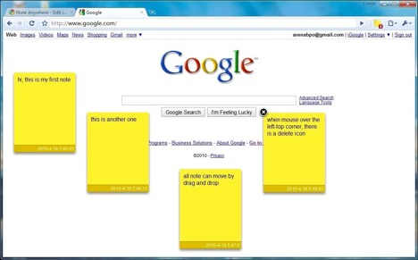 Note Anywhere: sticky notes for the internet