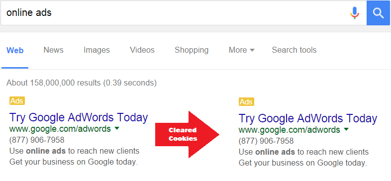 online ads cookies cleared