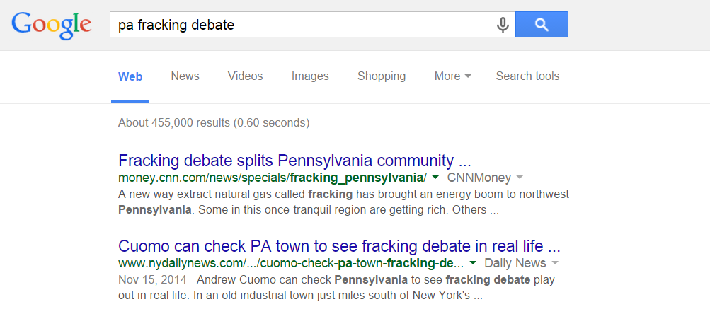 PA fracking in the search results