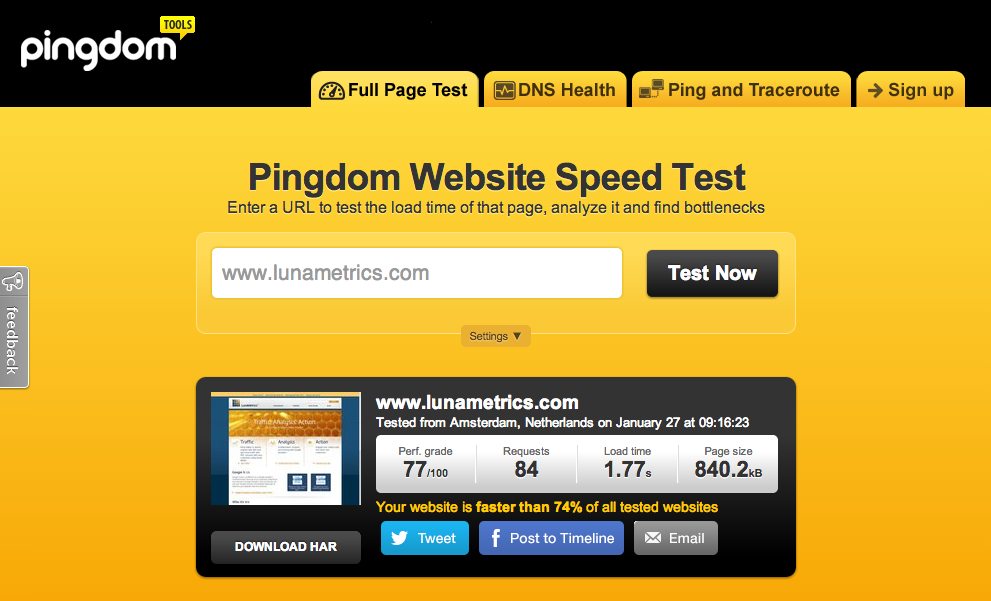 pagespeed-pingdom